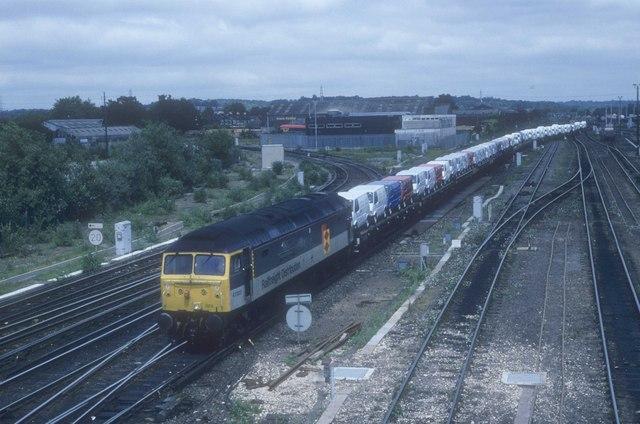 Special automotive train departs Eastleigh yard