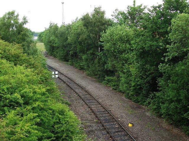 Manchester Ship Canal Railway seen from Merseyton Road bridge