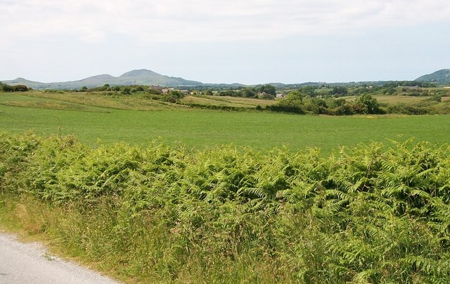 View Westwards across farmland from Lon Denio