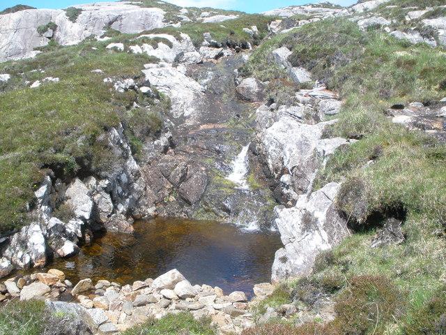 Small waterfall and pool on the Abhainn Haladall