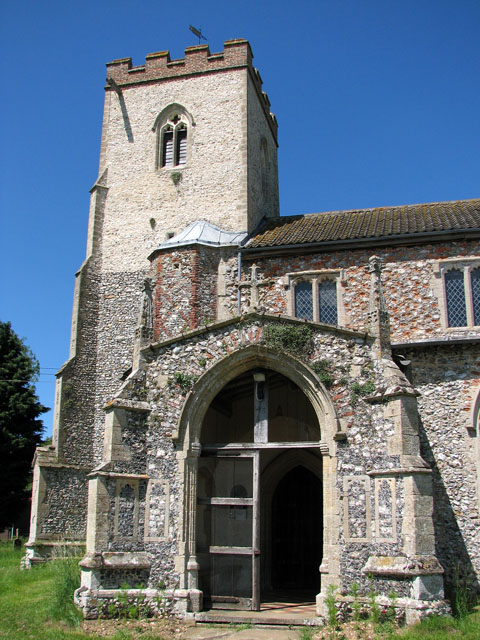 St Andrew's church in Little Massingham - porch and tower
