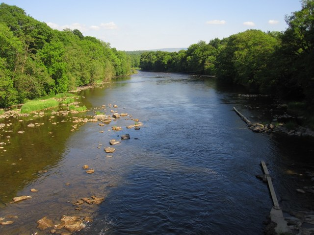 River Wye in June from the Llanstephan suspension bridge, showing the fishing planks