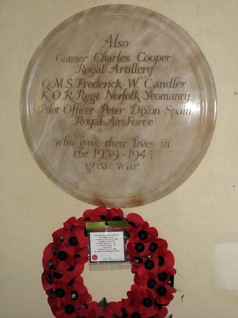St Andrew's church in Little Massingham - war memorial