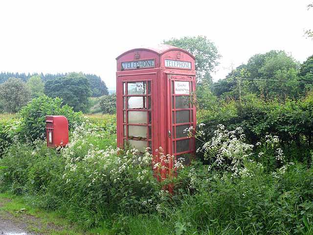 Telephone box at Bettws-y-Crwyn