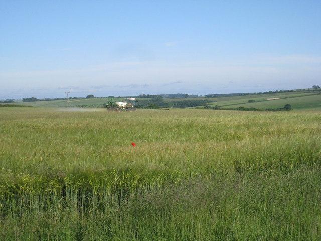 Crop spraying near Farforth