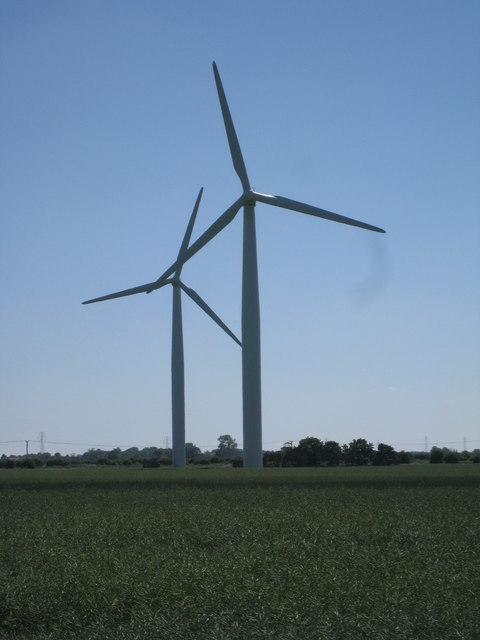 Wind turbines near Croft