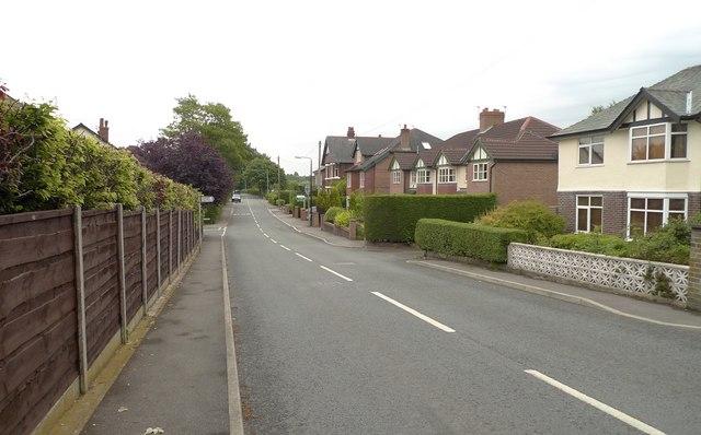 Bankhall Lane, approaching the railway bridge, Hale