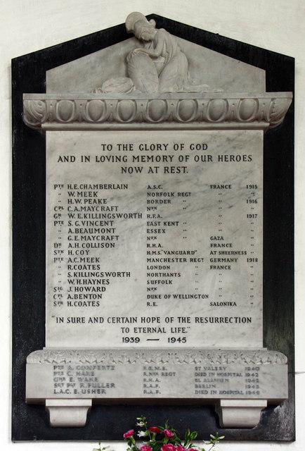 St Margaret, Clenchwarton, Norfolk - WWII Memorial