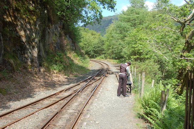 Railway tracks leaving Nant Gwernol station