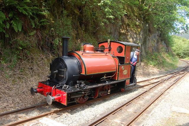 Sir Haydn running round train at Nant Gwernol