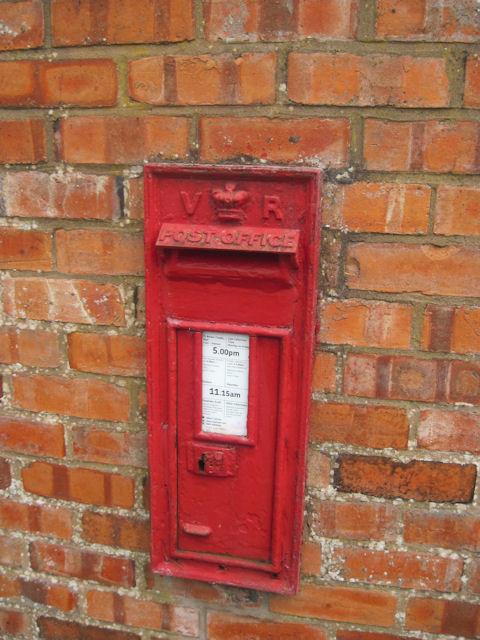 Victorian postbox at Llanfair Caereinion station