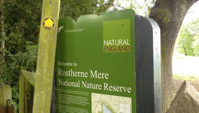 Sign for Rostherne Mere, Cheshire