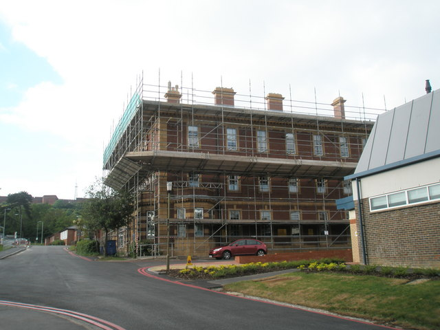 Scaffolding on the old hospital at QA