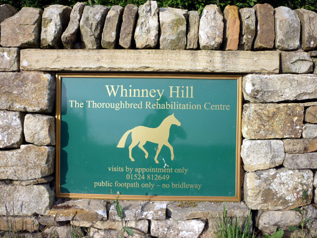 Sign for Whinney Hill