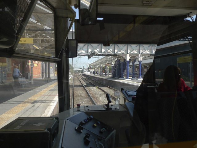 Altrincham station from the Metro driver's cab
