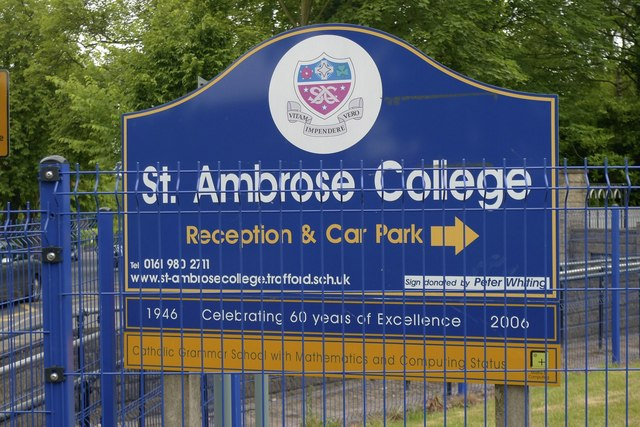 Notice for St Ambrose College, Hale Barns, Cheshire