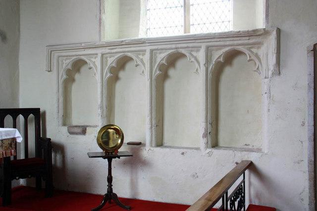St Nicholas, Gayton, Norfolk - Piscina & sedilia