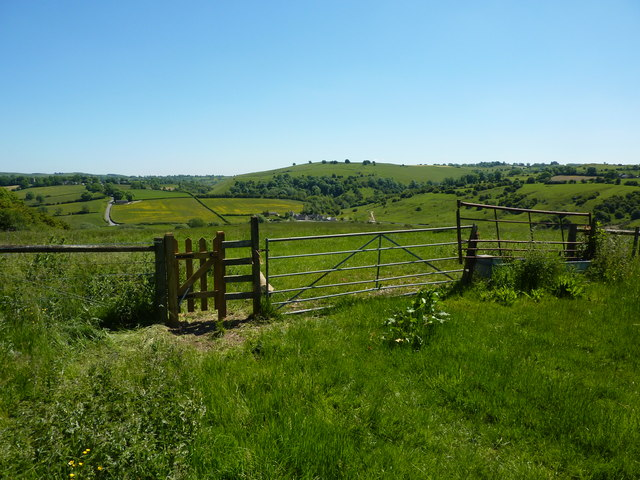 Field gates and a view to Bradbourne Mill