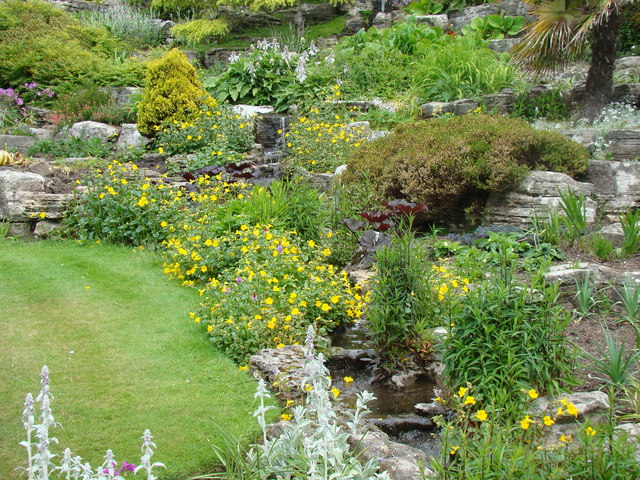 The stream flowing through the rockery in Lower Gardens