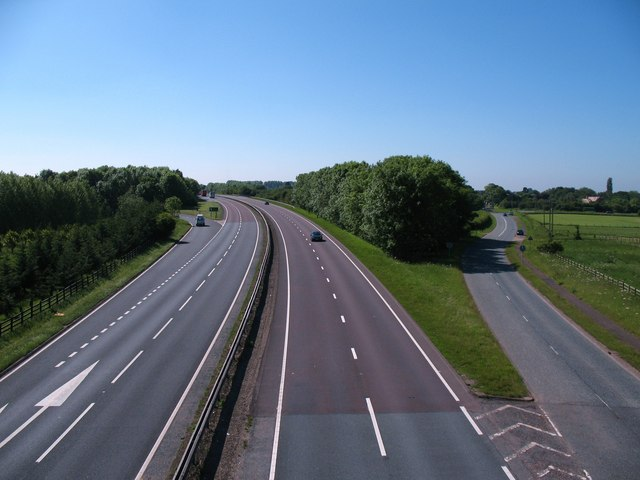 Looking south along A19