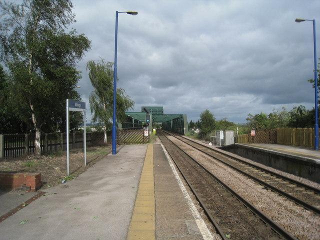 Keadby bridge from the platform of Althorpe station