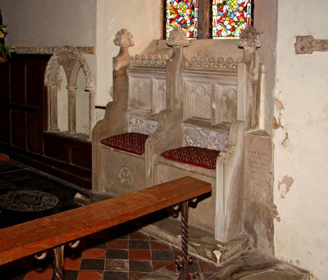 St Mary, Middleton, Norfolk - Piscina & sedilia