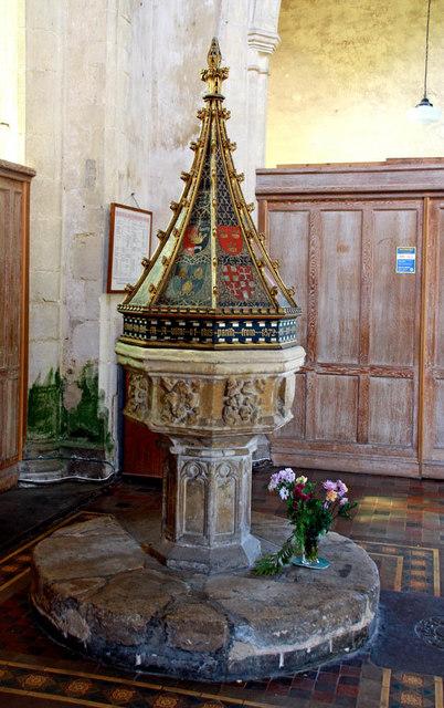 All Saints, East Winch, Norfolk - Font