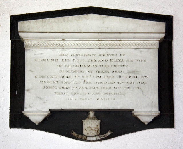All Saints, East Winch, Norfolk - Wall monument