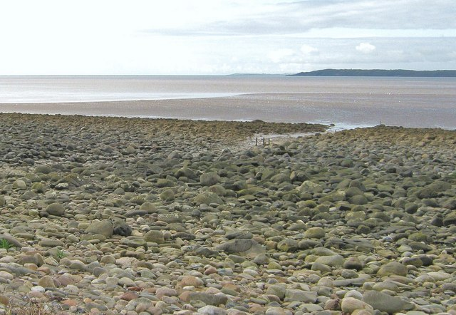 The tide is low on the rocky foreshore