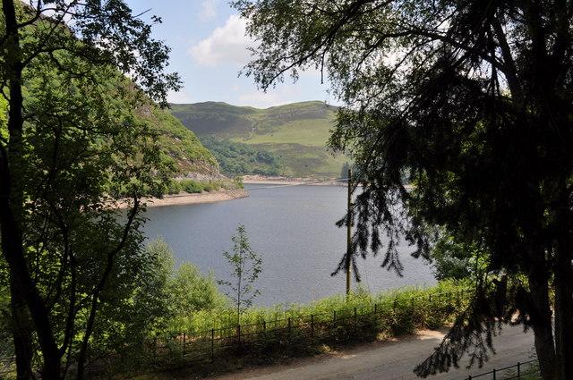 Looking across the reservoir from Nantgwyllt Church