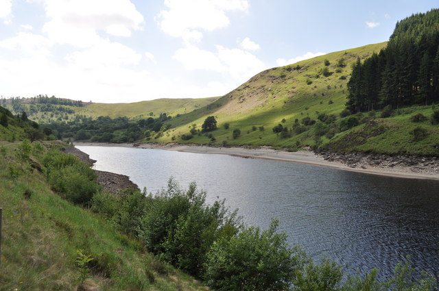 Looking along Garreg-ddu reservoir
