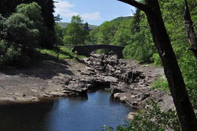 Looking upstream towards road bridge