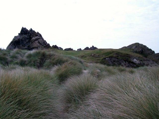 Carreg-yr-Imbill viewed across dune land