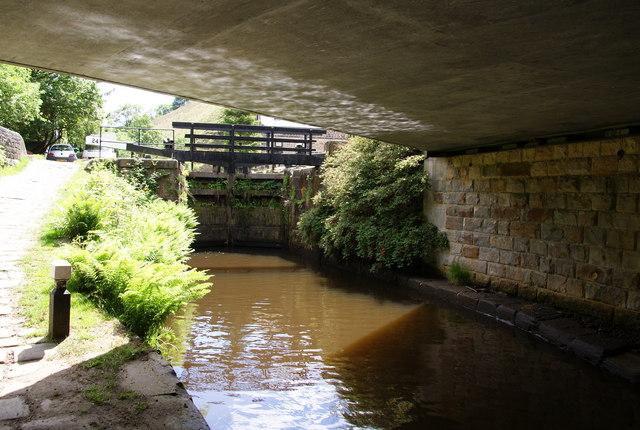 Under the Bacup Road bridge