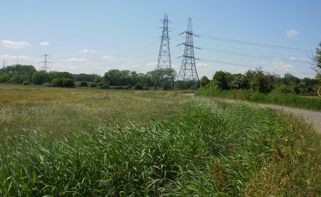 Two pylons close to railway line