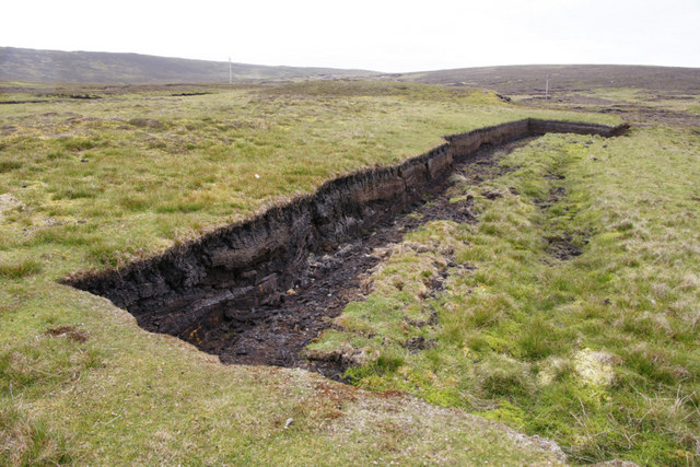 Old peat bank north of Sandy Loch, Lerwick