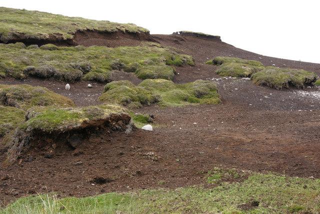 Eroded peat beside Sandy Loch reservoir, Lerwick