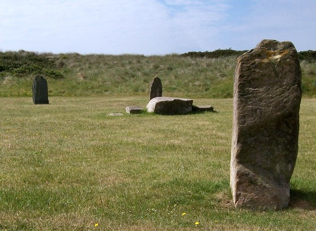 Gorsedd stones and sand dunes