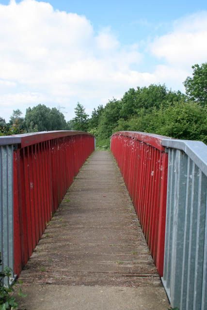 Wooden footbridge on the Hereward Way