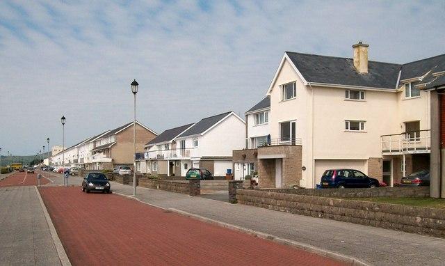 Modern houses on the promenade at Pwllheli