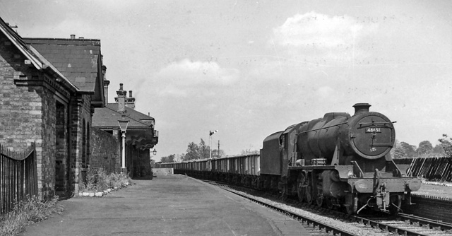 Brooksby Station (remains), with train