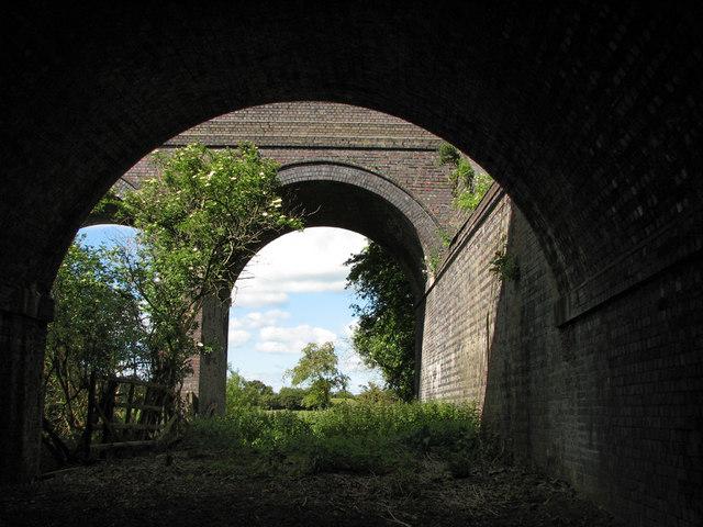 Under the railway bridges east of Saxby Junction