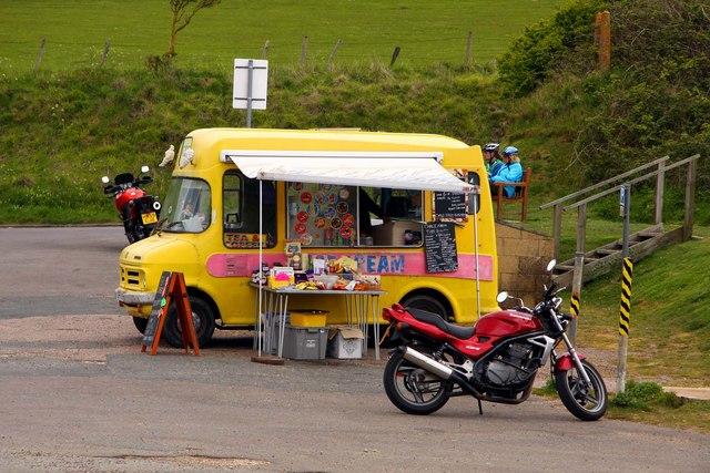 Ice cream van in the car park