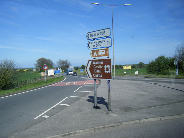 Signs at A2/A258 junction