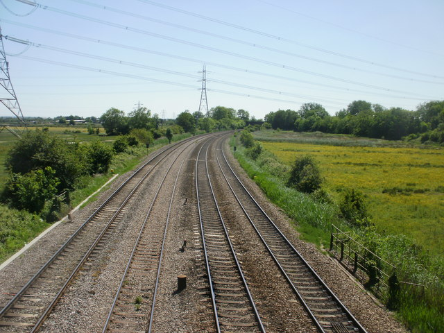 South Wales main line heads away from Duffryn, Newport