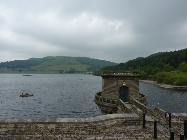 Fishermen on Ladybower Reservoir, and East  drawing-off tower