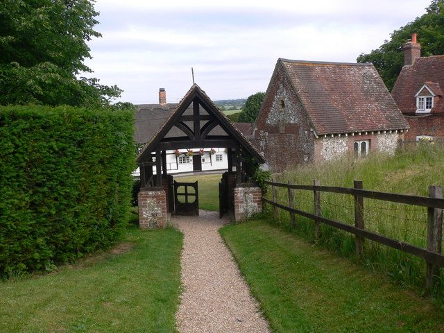 Another view of lychgate at Chalton from the church