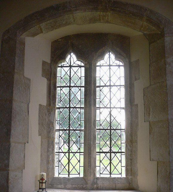 Tall windows on the south wall of Chalton church