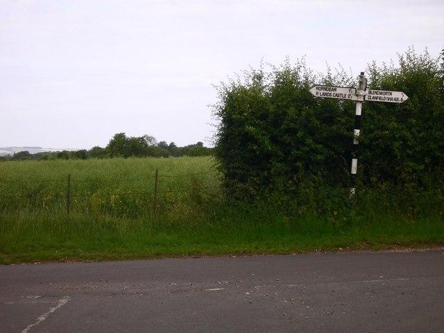Signpost at minor road junction near Blendworth