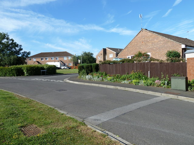 Approaching the junction of  Reedmace Close and Spruce Avenue